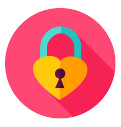 heart padlock circle icon vector image vector image