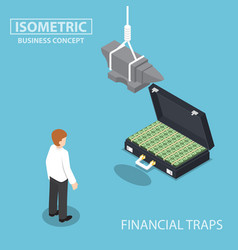 isometric businessman looking to suitcase money vector image vector image