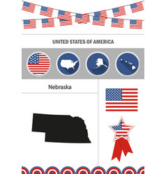 map of nebraska set of flat design icons vector image