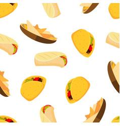 mexican food tacos burrito and nachos vector image