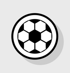 soccer ball sign flat black icon in white vector image vector image