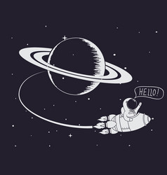 astronaut come back after mission to saturn vector image