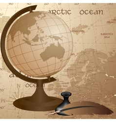 Geographic vintage background with globe feather vector