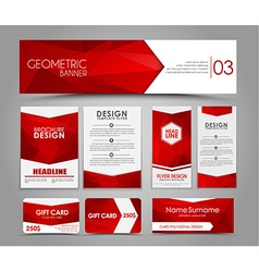 Set of red corporate style polygonal vector image
