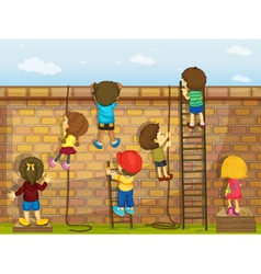 Wall and Kids vector image vector image