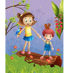 A girl and a boy in the forest vector