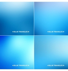 Abstract blue triangle backgrounds set vector image