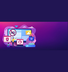 Ad blocking software concept banner header vector