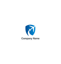 airplane travel fly shield company logo vector image