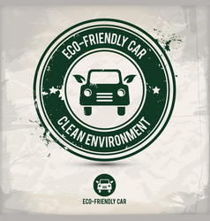 alternative eco friendly car stamp vector image