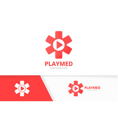 ambulance and play button logo combination vector image