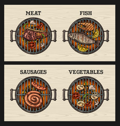 barbecue grill top view charcoal vegetables vector image