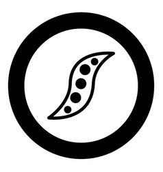 bean icon black color in circle vector image