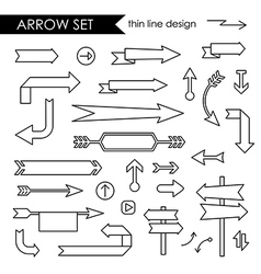 Black thin line arrows set vector image
