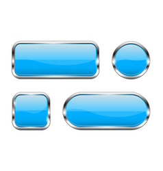 blue glass buttons set 3d shiny icons with vector image