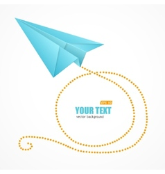 Blue paper plane and text box vector
