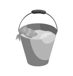 Bucket of fish icon black monochrome style vector image