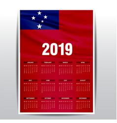 Calendar 2019 samoa flag background english vector