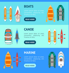 cartoon color boats banner horizontal set vector image