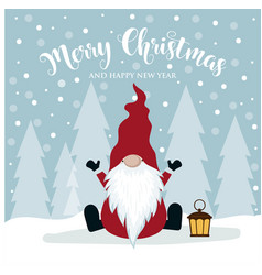 christmas card with cute gnome vector image