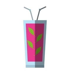 cocktail sex on the beach straw mint leaves shadow vector image