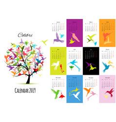 colibri calendar 2019 design vector image