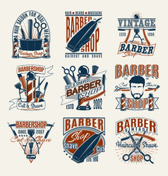 colored vintage barbershop logotypes set vector image
