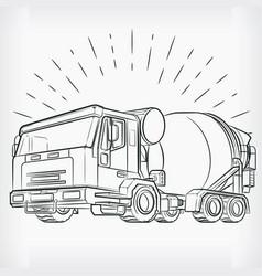 Concrete mixer doodle cement truck sketch drawing vector