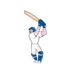 Cricket Player Batsman Batting Cartoon vector image