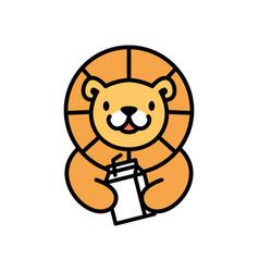 Cute lion baby milk bottle cartoon playful logo vector