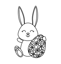 cute rabbit with easter egg painted vector image