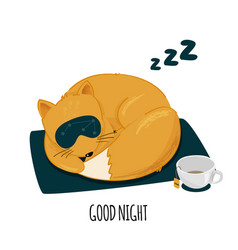 Cute sleeping fox character brush vector