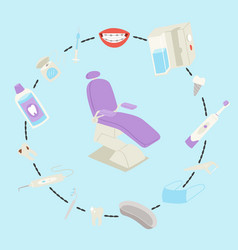 Dental medical care tools and equipment vector