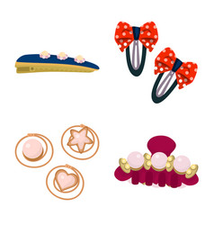 Design barrette and hair symbol set of vector