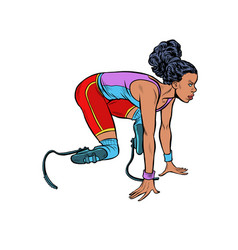 disabled runner black woman vector image