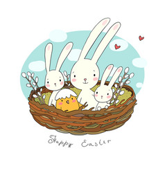 Easter bunnies and chickens cute hare and chick vector