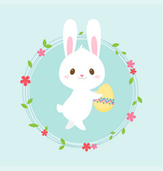 easter egg hunt poster cute rabbit invitation vector image