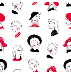 Elegant seamless pattern with heads of beautiful vector