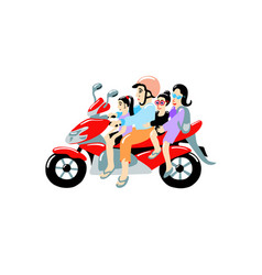 Family four people on a moped most common vector