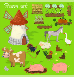 farm animals - cow pig sheep horse rooster vector image