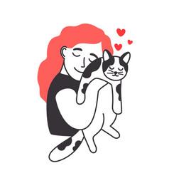 female and kitten vector image