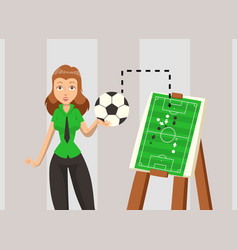 Female soccer coach explaining game strategy vector