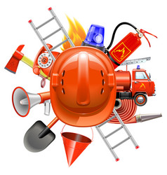 fire prevention concept with helmet vector image