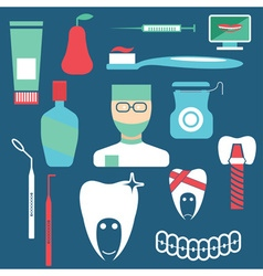 flat design collection of dentistry theme vector image