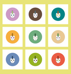 Flat icons halloween set of skull and candle vector