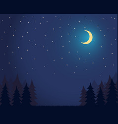 forest landscape dark night sky with lot shiny vector image