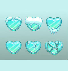 Frozen hearts icons vector