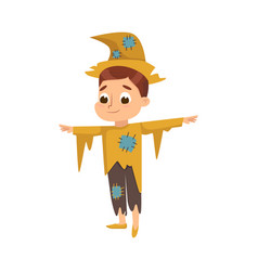 Funny boy dressed in ragged scarecrow halloween vector