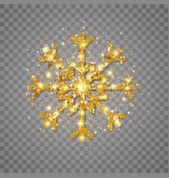 glitter golden snowflake on transparent background vector image