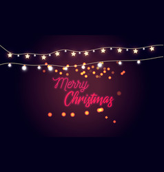 Glowing lights for holidayshandwriting merry chri vector